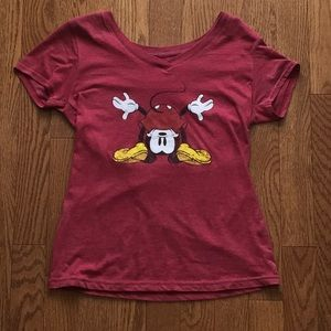 Mickey Mouse Peering Upside Down T-Shirt